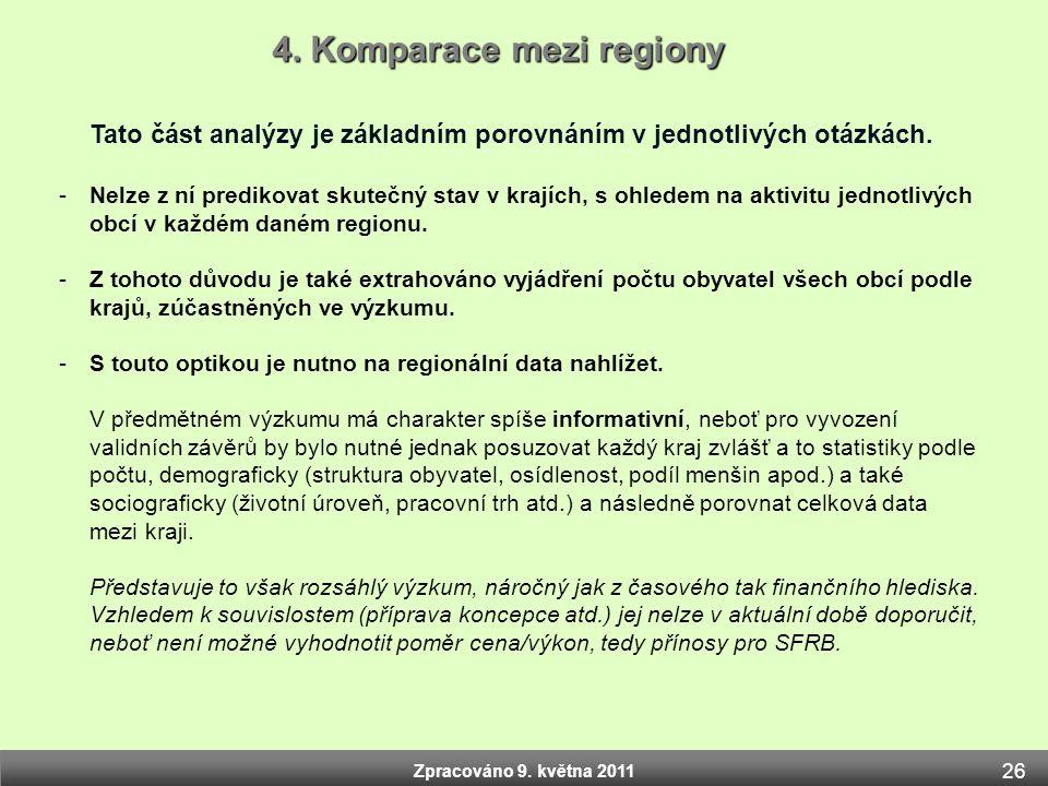 Zpracováno 9. května 2011 Tato část analýzy je základním porovnáním v jednotlivých otázkách. -Nelze z ní predikovat skutečný stav v krajích, s ohledem
