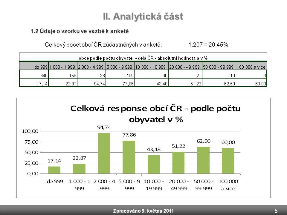 Zpracováno 9. května 2011 II. Analytická část Zpracováno 9. května 2011 1.2 Údaje o vzorku ve vazbě k anketě Celkový počet obcí ČR zúčastněných v anke