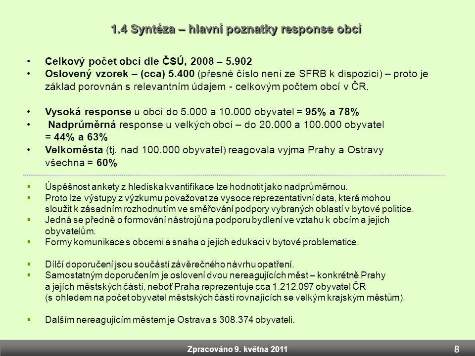 Zpracováno 9. května 2011 1.4 Syntéza – hlavní poznatky response obcí Zpracováno 9. května 2011 •Celkový počet obcí dle ČSÚ, 2008 – 5.902 •Oslovený vz