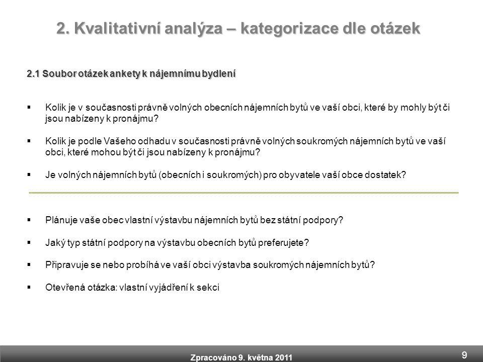 Zpracováno 9. května 2011 2. Kvalitativní analýza – kategorizace dle otázek 2.1 Soubor otázek ankety k nájemnímu bydlení  Kolik je v současnosti práv