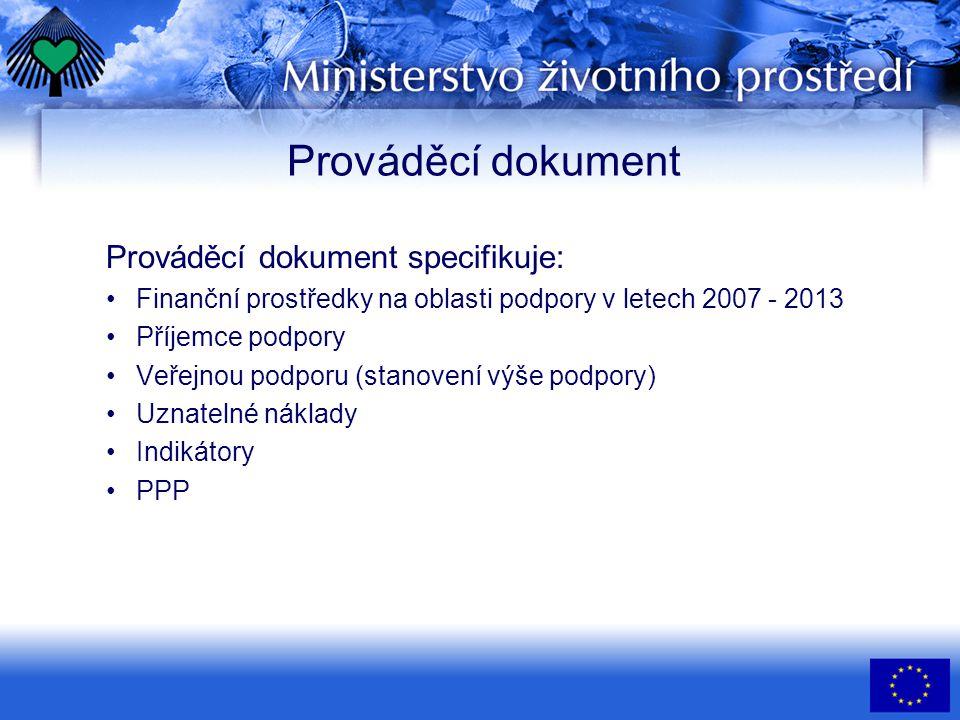 Prováděcí dokument Prováděcí dokument specifikuje: •Finanční prostředky na oblasti podpory v letech 2007 - 2013 •Příjemce podpory •Veřejnou podporu (stanovení výše podpory) •Uznatelné náklady •Indikátory •PPP