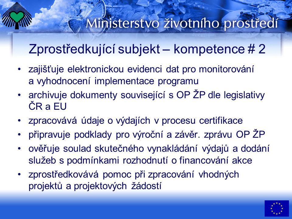Zprostředkující subjekt – kompetence # 2 •zajišťuje elektronickou evidenci dat pro monitorování a vyhodnocení implementace programu •archivuje dokumenty související s OP ŽP dle legislativy ČR a EU •zpracovává údaje o výdajích v procesu certifikace •připravuje podklady pro výroční a závěr.