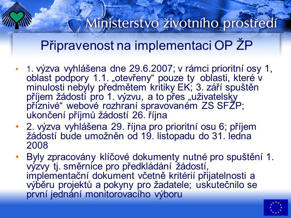 Připravenost na implementaci OP ŽP •1.