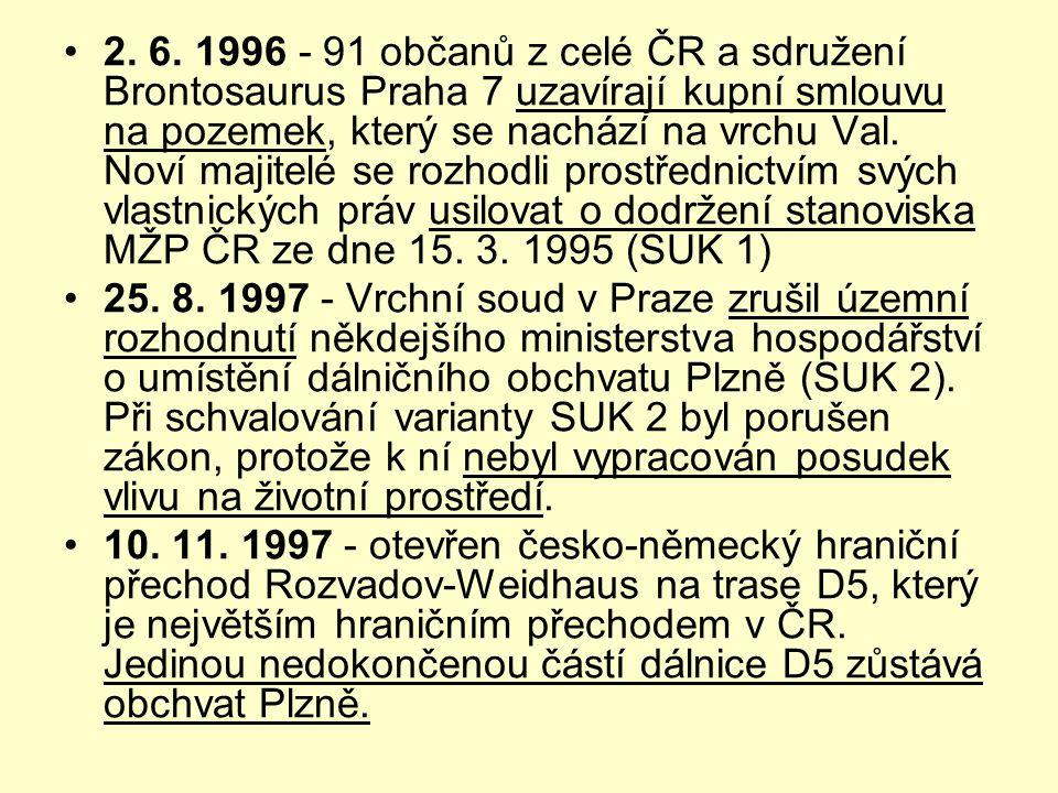 •2. 6. 1996 - 91 občanů z celé ČR a sdružení Brontosaurus Praha 7 uzavírají kupní smlouvu na pozemek, který se nachází na vrchu Val. Noví majitelé se