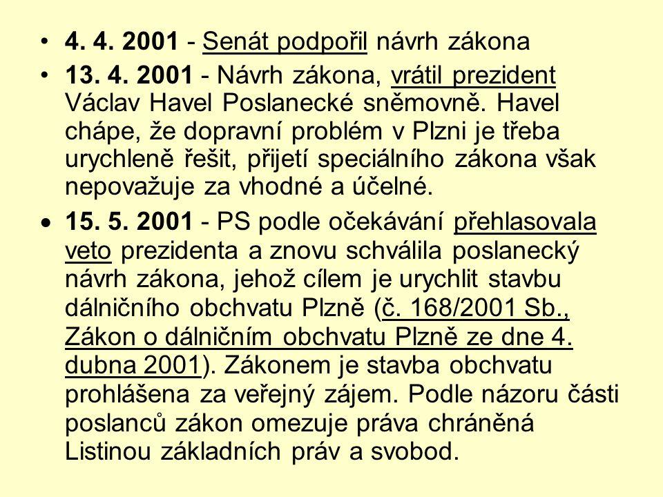 •4. 4. 2001 - Senát podpořil návrh zákona •13. 4. 2001 - Návrh zákona, vrátil prezident Václav Havel Poslanecké sněmovně. Havel chápe, že dopravní pro