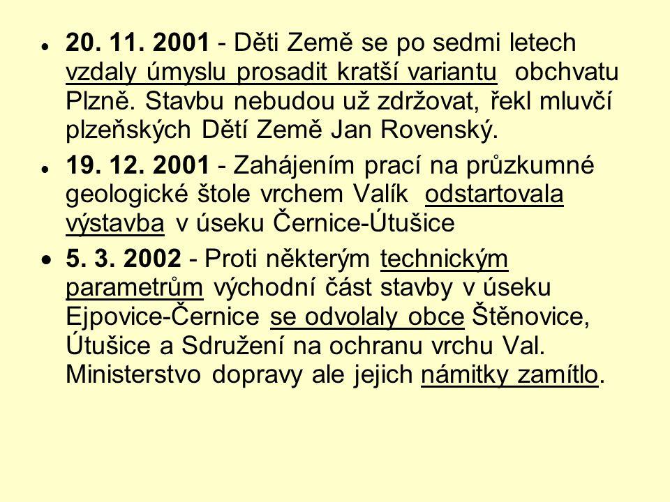  20. 11. 2001 - Děti Země se po sedmi letech vzdaly úmyslu prosadit kratší variantu obchvatu Plzně. Stavbu nebudou už zdržovat, řekl mluvčí plzeňskýc