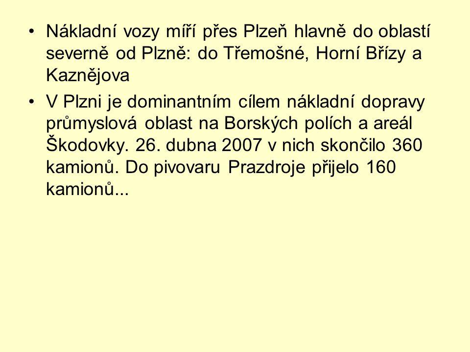 •Nákladní vozy míří přes Plzeň hlavně do oblastí severně od Plzně: do Třemošné, Horní Břízy a Kaznějova •V Plzni je dominantním cílem nákladní dopravy