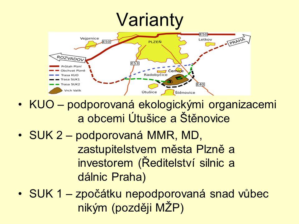 Varianty •KUO – podporovaná ekologickými organizacemi a obcemi Útušice a Štěnovice •SUK 2 – podporovaná MMR, MD, zastupitelstvem města Plzně a investo