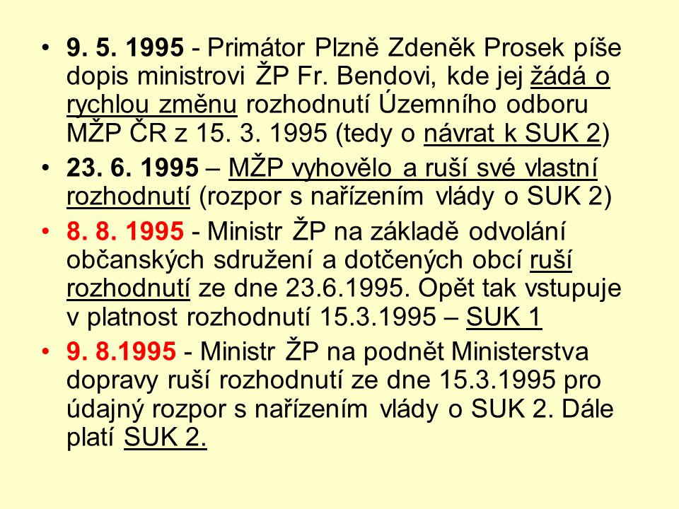 •9. 5. 1995 - Primátor Plzně Zdeněk Prosek píše dopis ministrovi ŽP Fr. Bendovi, kde jej žádá o rychlou změnu rozhodnutí Územního odboru MŽP ČR z 15.