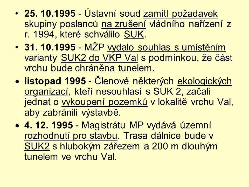 •25. 10.1995 - Ústavní soud zamítl požadavek skupiny poslanců na zrušení vládního nařízení z r. 1994, které schválilo SUK. •31. 10.1995 - MŽP vydalo s