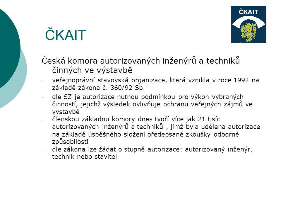 ČKAIT Česká komora autorizovaných inženýrů a techniků činných ve výstavbě - veřejnoprávní stavovská organizace, která vznikla v roce 1992 na základě zákona č.