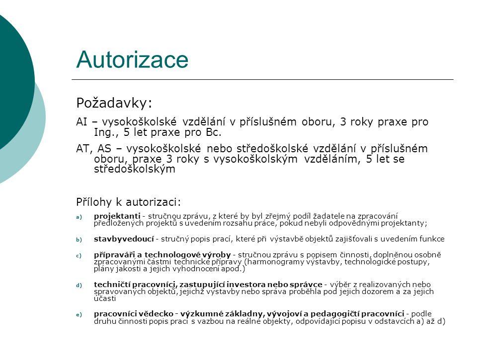 Autorizace Požadavky: AI – vysokoškolské vzdělání v příslušném oboru, 3 roky praxe pro Ing., 5 let praxe pro Bc.