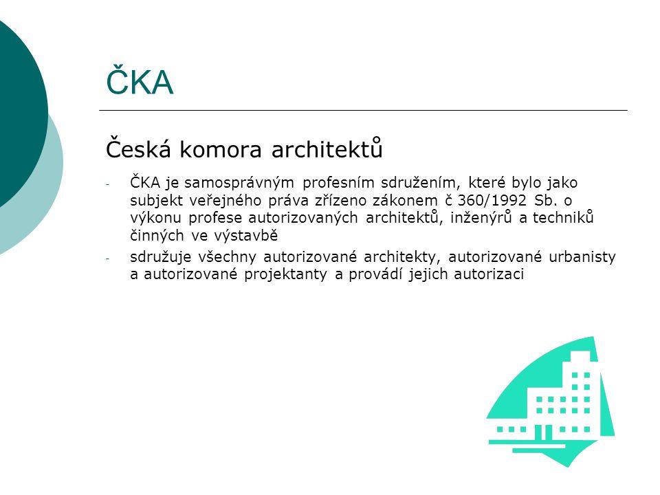 ČKA Česká komora architektů - ČKA je samosprávným profesním sdružením, které bylo jako subjekt veřejného práva zřízeno zákonem č 360/1992 Sb.