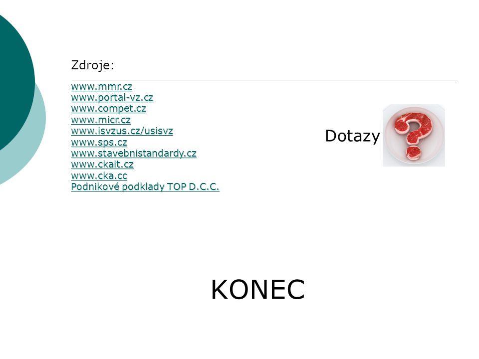 KONEC Zdroje: www.mmr.cz www.portal-vz.cz www.compet.cz www.micr.cz www.isvzus.cz/usisvz www.sps.cz www.stavebnistandardy.cz www.ckait.cz www.cka.cc Podnikové podklady TOP D.C.C.