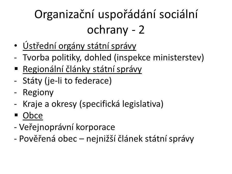 Organizační uspořádání sociální ochrany - 2 • Ústřední orgány státní správy -Tvorba politiky, dohled (inspekce ministerstev)  Regionální články státn