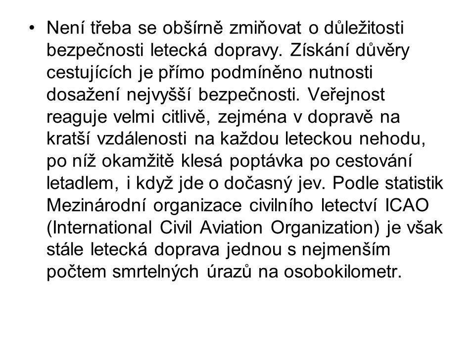 •Není třeba se obšírně zmiňovat o důležitosti bezpečnosti letecká dopravy. Získání důvěry cestujících je přímo podmíněno nutnosti dosažení nejvyšší be