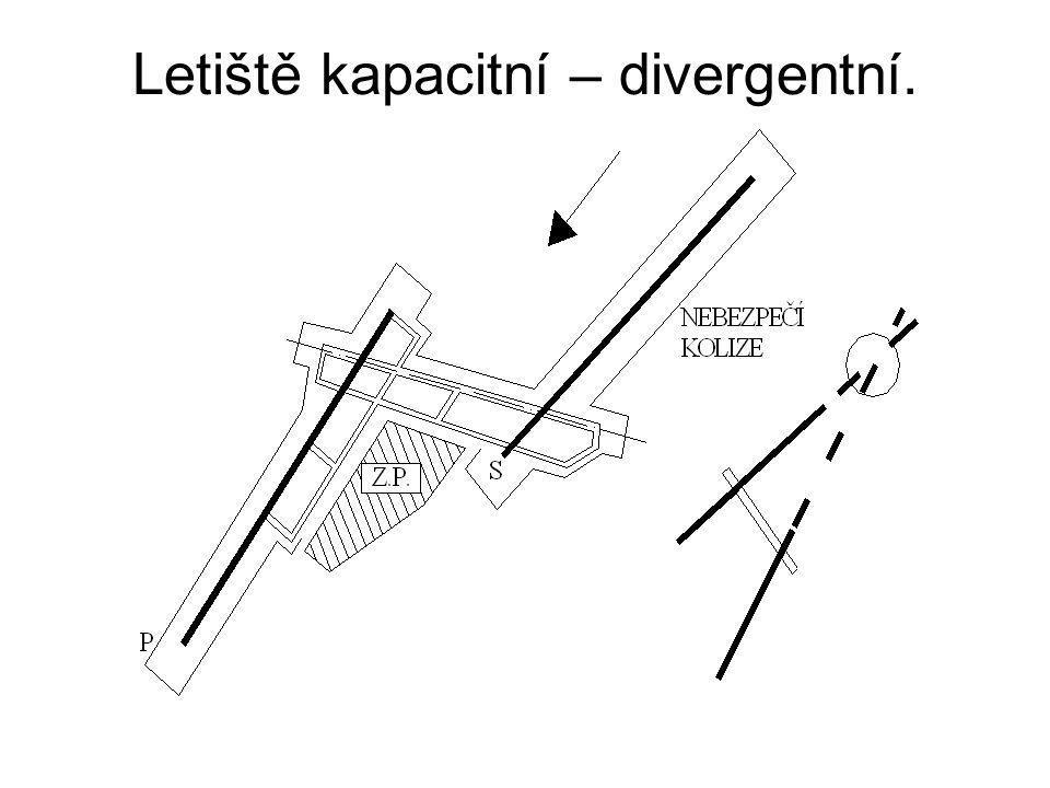 Letiště kapacitní – divergentní.