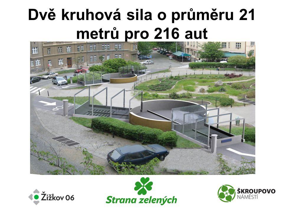 Dvě kruhová sila o průměru 21 metrů pro 216 aut
