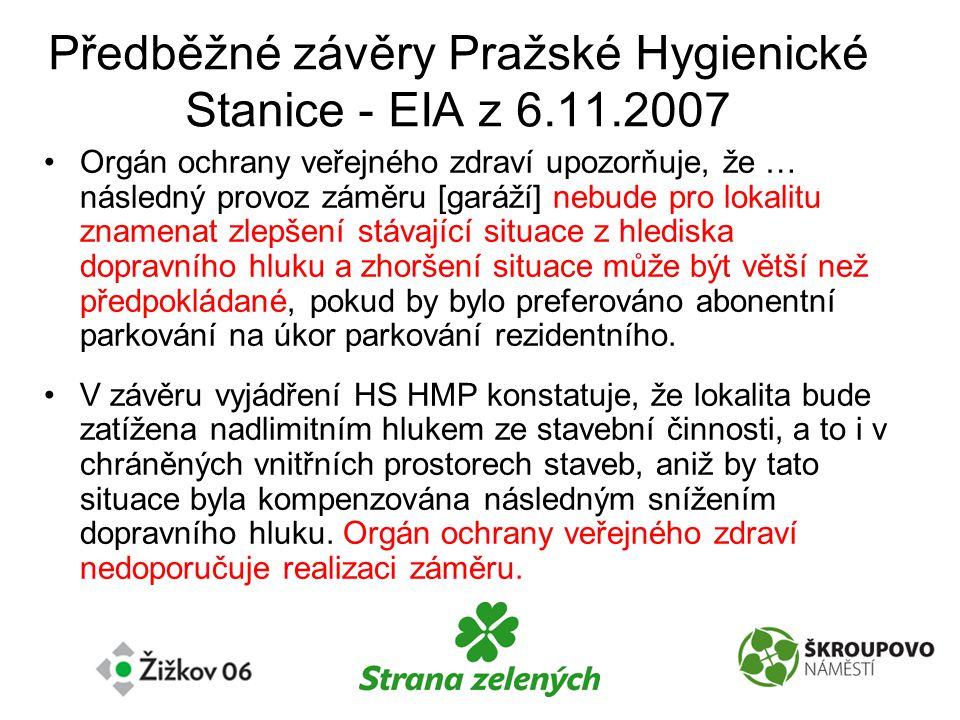 Předběžné závěry Pražské Hygienické Stanice - EIA z 6.11.2007 •Orgán ochrany veřejného zdraví upozorňuje, že … následný provoz záměru [garáží] nebude pro lokalitu znamenat zlepšení stávající situace z hlediska dopravního hluku a zhoršení situace může být větší než předpokládané, pokud by bylo preferováno abonentní parkování na úkor parkování rezidentního.