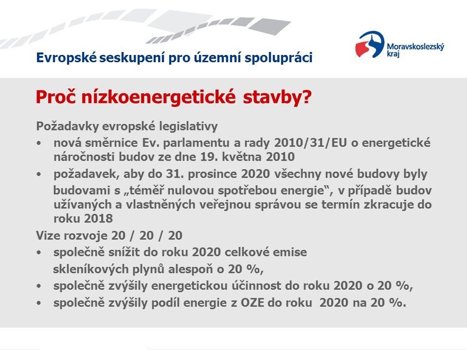 Evropské seskupení pro územní spolupráci Proč nízkoenergetické stavby.