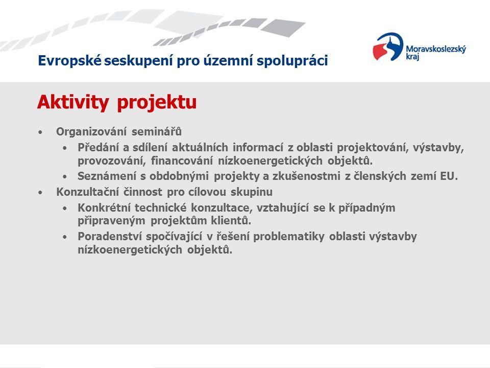 Evropské seskupení pro územní spolupráci Aktivity projektu •Organizování seminářů •Předání a sdílení aktuálních informací z oblasti projektování, výstavby, provozování, financování nízkoenergetických objektů.