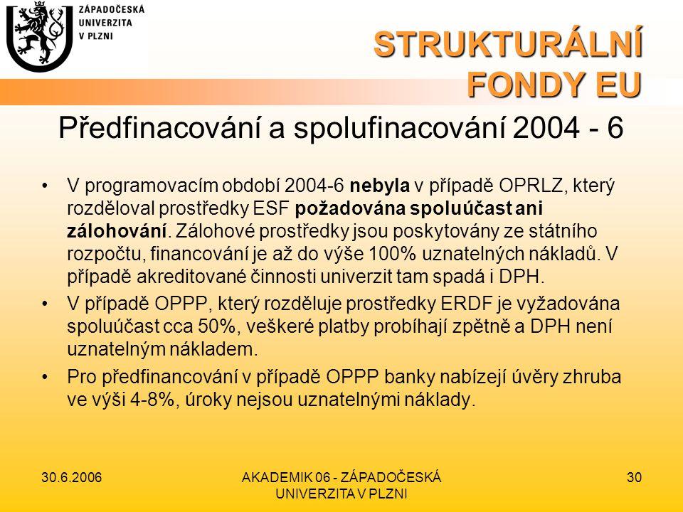 30.6.2006AKADEMIK 06 - ZÁPADOČESKÁ UNIVERZITA V PLZNI 30 STRUKTURÁLNÍ FONDY EU Předfinacování a spolufinacování 2004 - 6 •V programovacím období 2004-6 nebyla v případě OPRLZ, který rozděloval prostředky ESF požadována spoluúčast ani zálohování.