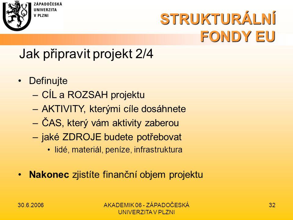 30.6.2006AKADEMIK 06 - ZÁPADOČESKÁ UNIVERZITA V PLZNI 32 STRUKTURÁLNÍ FONDY EU •Definujte –CÍL a ROZSAH projektu –AKTIVITY, kterými cíle dosáhnete –ČAS, který vám aktivity zaberou –jaké ZDROJE budete potřebovat •lidé, materiál, peníze, infrastruktura •Nakonec zjistíte finanční objem projektu Jak připravit projekt 2/4