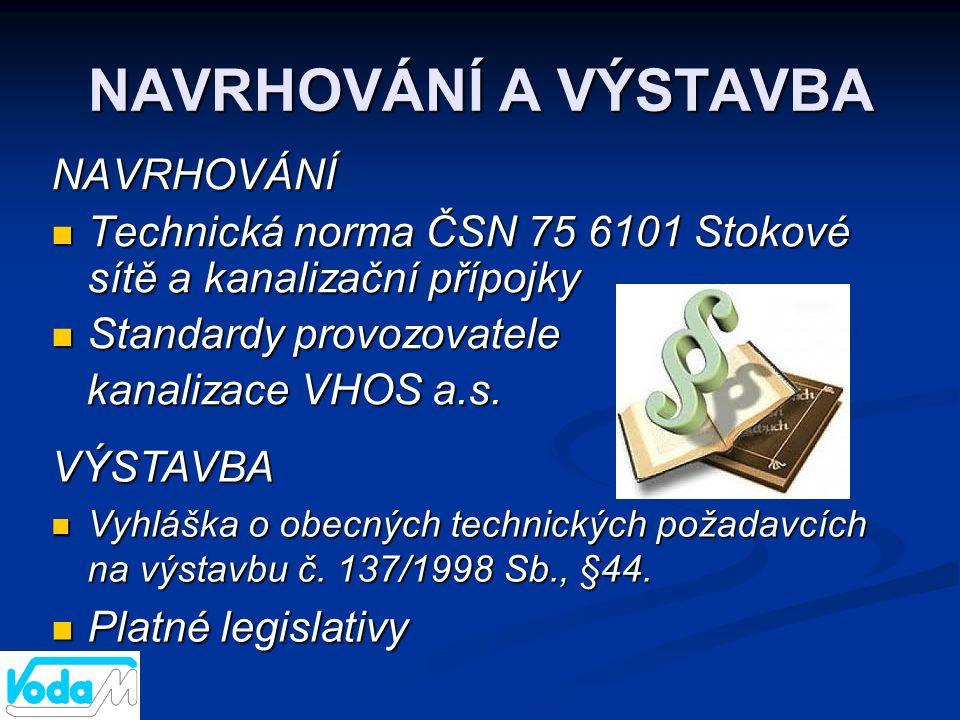 NAVRHOVÁNÍ A VÝSTAVBA NAVRHOVÁNÍ  Technická norma ČSN 75 6101 Stokové sítě a kanalizační přípojky  Standardy provozovatele kanalizace VHOS a.s. kana
