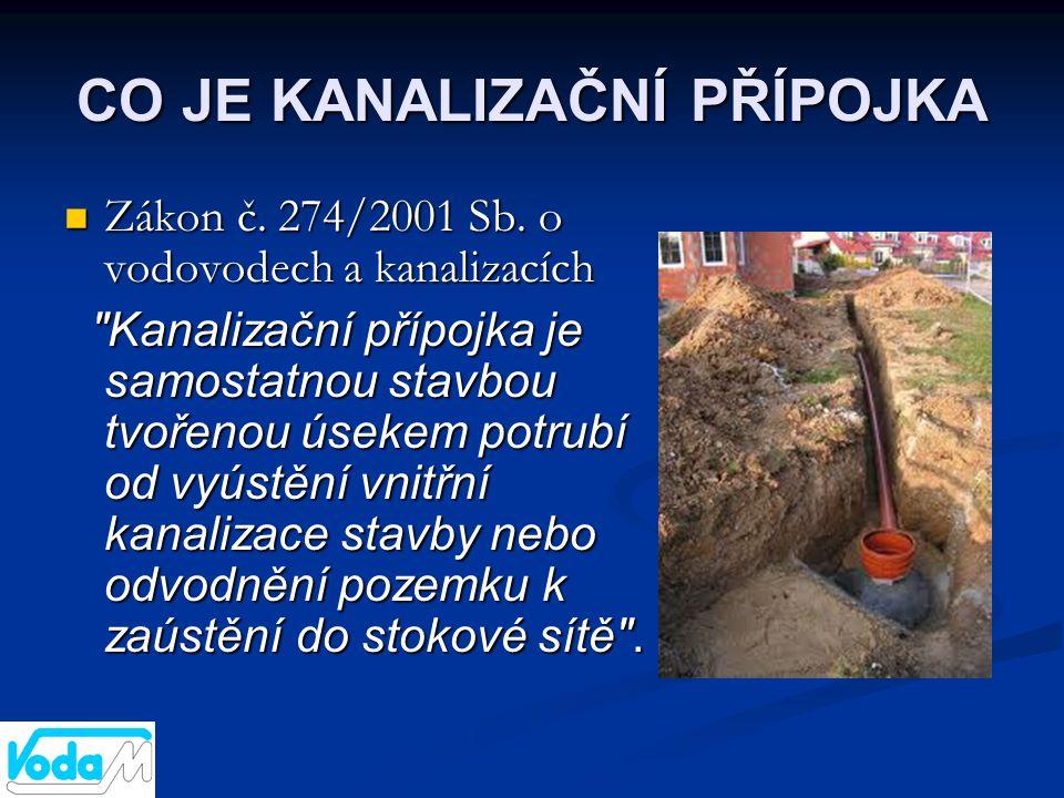 CO JE KANALIZAČNÍ PŘÍPOJKA  Zákon č. 274/2001 Sb. o vodovodech a kanalizacích