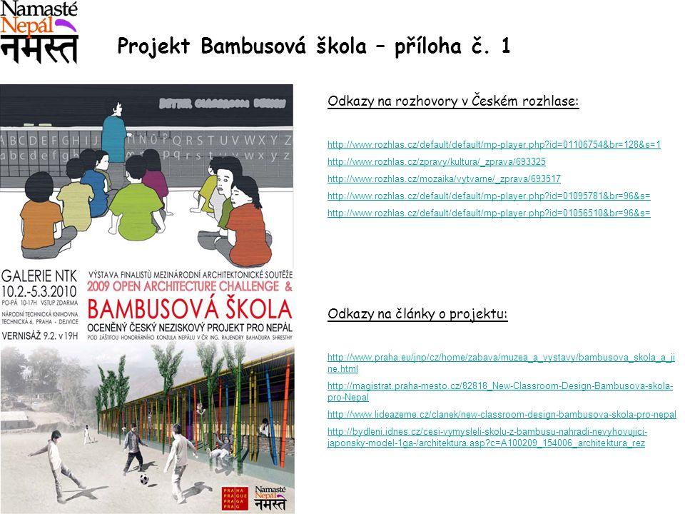 Projekt Bambusová škola – příloha č. 1 Odkazy na rozhovory v Českém rozhlase: http://www.rozhlas.cz/default/default/rnp-player.php?id=01106754&br=128&