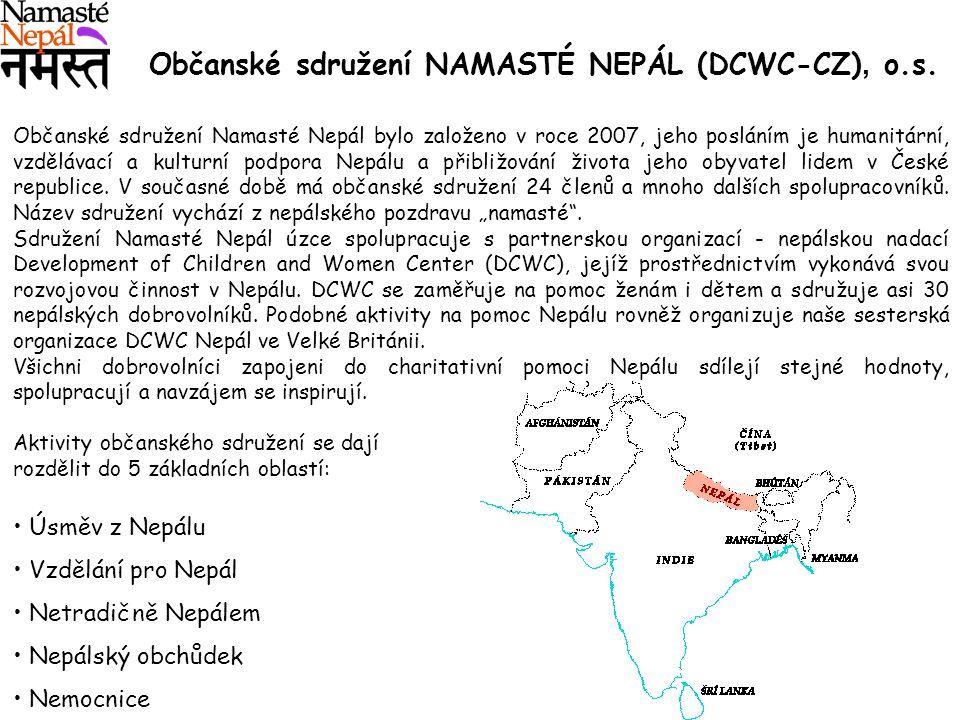 Občanské sdružení Namasté Nepál bylo založeno v roce 2007, jeho posláním je humanitární, vzdělávací a kulturní podpora Nepálu a přibližování života jeho obyvatel lidem v České republice.