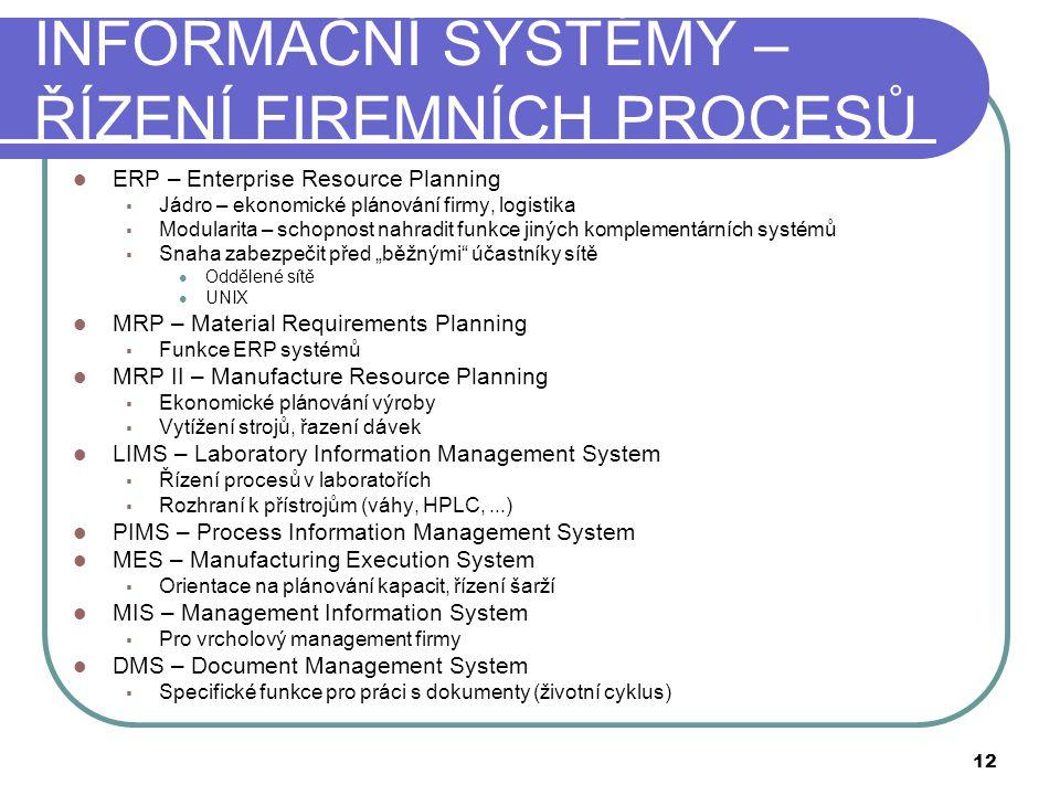 """INFORMAČNÍ SYSTÉMY – ŘÍZENÍ FIREMNÍCH PROCESŮ  ERP – Enterprise Resource Planning  Jádro – ekonomické plánování firmy, logistika  Modularita – schopnost nahradit funkce jiných komplementárních systémů  Snaha zabezpečit před """"běžnými účastníky sítě  Oddělené sítě  UNIX  MRP – Material Requirements Planning  Funkce ERP systémů  MRP II – Manufacture Resource Planning  Ekonomické plánování výroby  Vytížení strojů, řazení dávek  LIMS – Laboratory Information Management System  Řízení procesů v laboratořích  Rozhraní k přístrojům (váhy, HPLC,...)  PIMS – Process Information Management System  MES – Manufacturing Execution System  Orientace na plánování kapacit, řízení šarží  MIS – Management Information System  Pro vrcholový management firmy  DMS – Document Management System  Specifické funkce pro práci s dokumenty (životní cyklus) 12"""