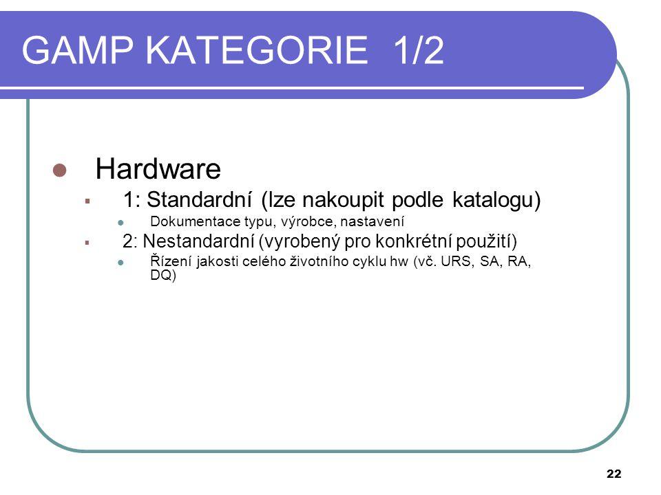 GAMP KATEGORIE 1/2  Hardware  1: Standardní (lze nakoupit podle katalogu)  Dokumentace typu, výrobce, nastavení  2: Nestandardní (vyrobený pro konkrétní použití)  Řízení jakosti celého životního cyklu hw (vč.