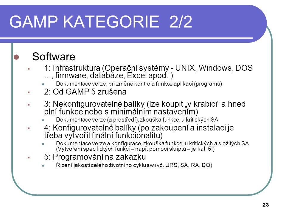 GAMP KATEGORIE 2/2  Software  1: Infrastruktura (Operační systémy - UNIX, Windows, DOS..., firmware, databáze, Excel apod.
