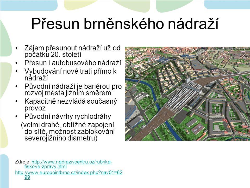 Přesun brněnského nádraží •Zájem přesunout nádraží už od počátku 20.