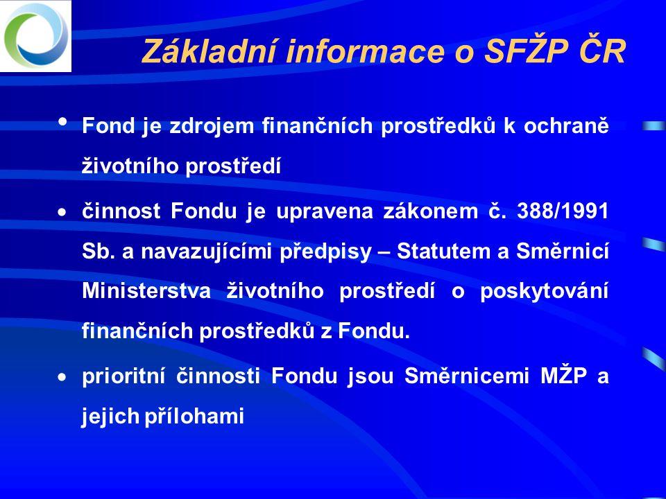 Základní informace o SFŽP ČR • Fond je zdrojem finančních prostředků k ochraně životního prostředí  činnost Fondu je upravena zákonem č.