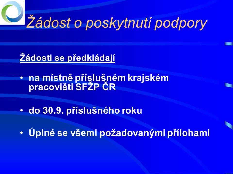 Žádost o poskytnutí podpory Žádosti se předkládají •na místně příslušném krajském pracovišti SFŽP ČR •do 30.9.