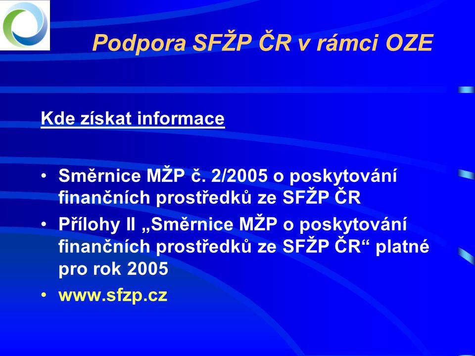 Podpora SFŽP ČR v rámci OZE Kde získat informace •Směrnice MŽP č.