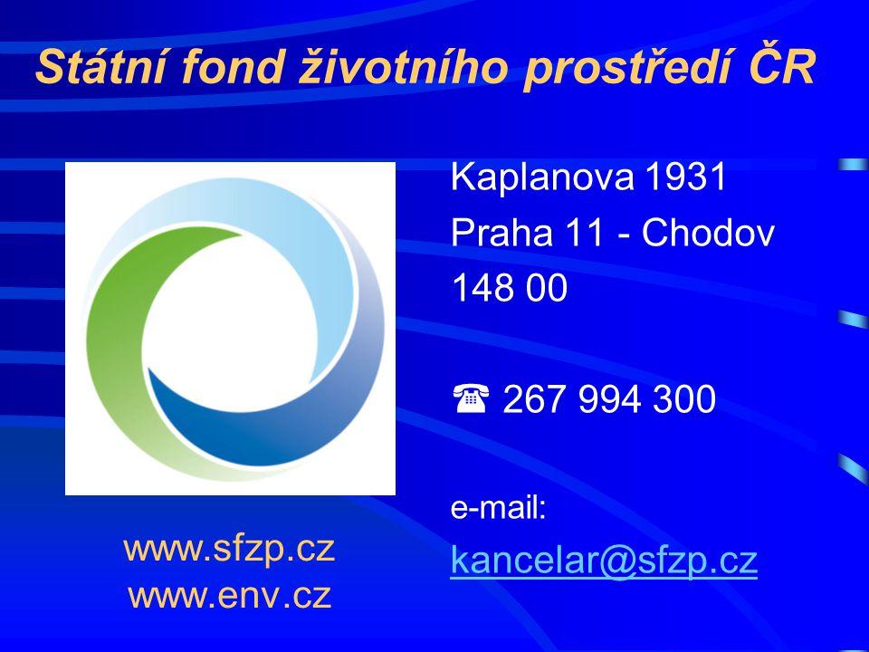 www.sfzp.cz www.env.cz Kaplanova 1931 Praha 11 - Chodov 148 00  267 994 300 e-mail: kancelar@sfzp.cz Státní fond životního prostředí ČR
