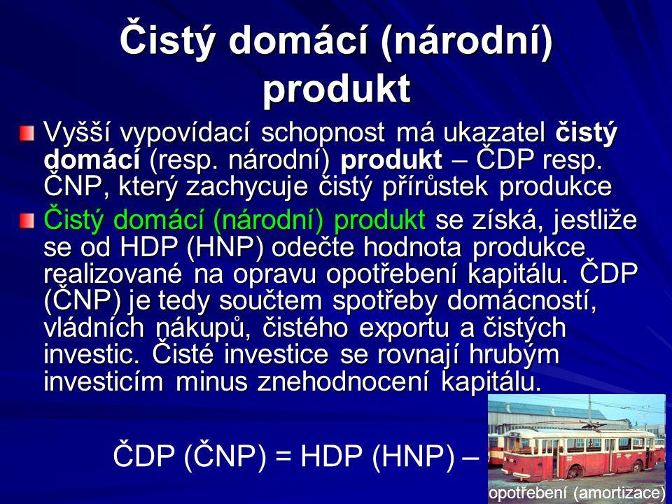 Čistý domácí (národní) produkt Vyšší vypovídací schopnost má ukazatel čistý domácí (resp. národní) produkt – ČDP resp. ČNP, který zachycuje čistý přír