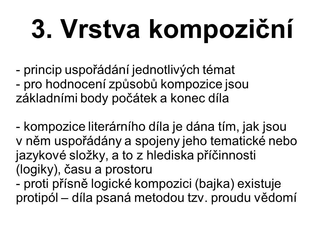 3. Vrstva kompoziční - princip uspořádání jednotlivých témat - pro hodnocení způsobů kompozice jsou základními body počátek a konec díla - kompozice l