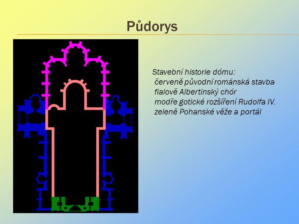 Půdorys .. Stavební historie dómu: červeně původní románská stavba fialově Albertinský chór modře gotické rozšíření Rudolfa IV. zeleně Pohanské věže