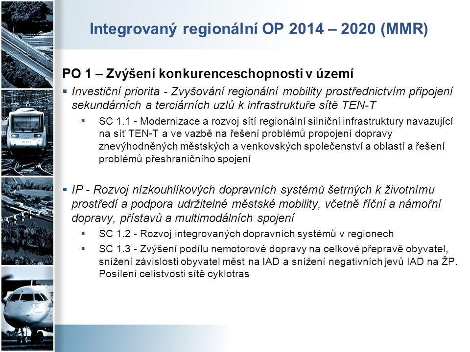 Integrovaný regionální OP 2014 – 2020 (MMR) PO 1 – Zvýšení konkurenceschopnosti v území  Investiční priorita - Zvyšování regionální mobility prostřed