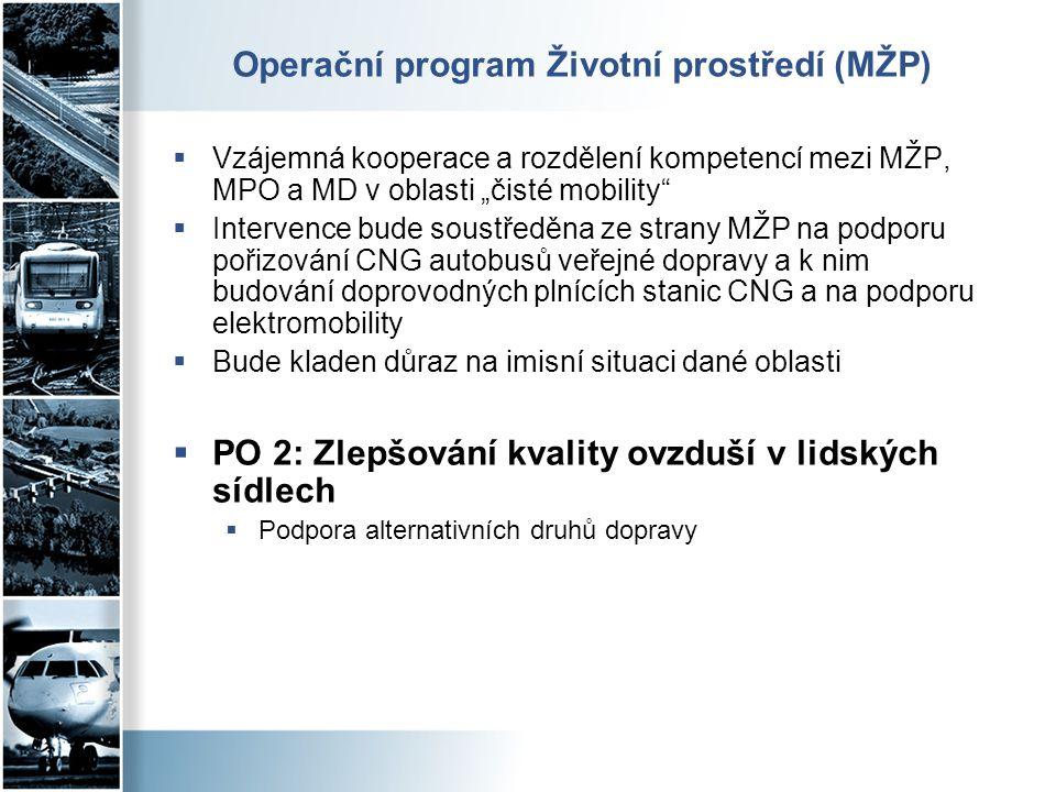 """Operační program Životní prostředí (MŽP)  Vzájemná kooperace a rozdělení kompetencí mezi MŽP, MPO a MD v oblasti """"čisté mobility""""  Intervence bude s"""