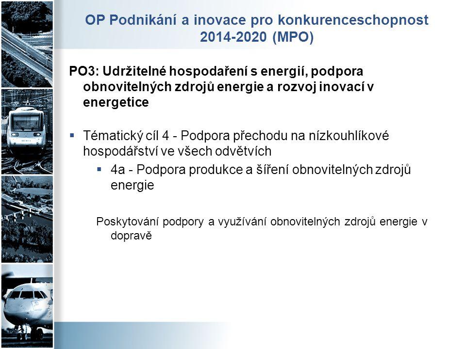 OP Podnikání a inovace pro konkurenceschopnost 2014-2020 (MPO) PO3: Udržitelné hospodaření s energií, podpora obnovitelných zdrojů energie a rozvoj in