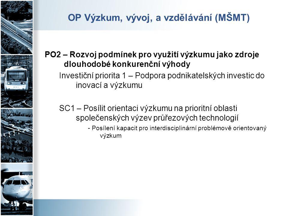 OP Výzkum, vývoj, a vzdělávání (MŠMT) PO2 – Rozvoj podmínek pro využití výzkumu jako zdroje dlouhodobé konkurenční výhody Investiční priorita 1 – Podp