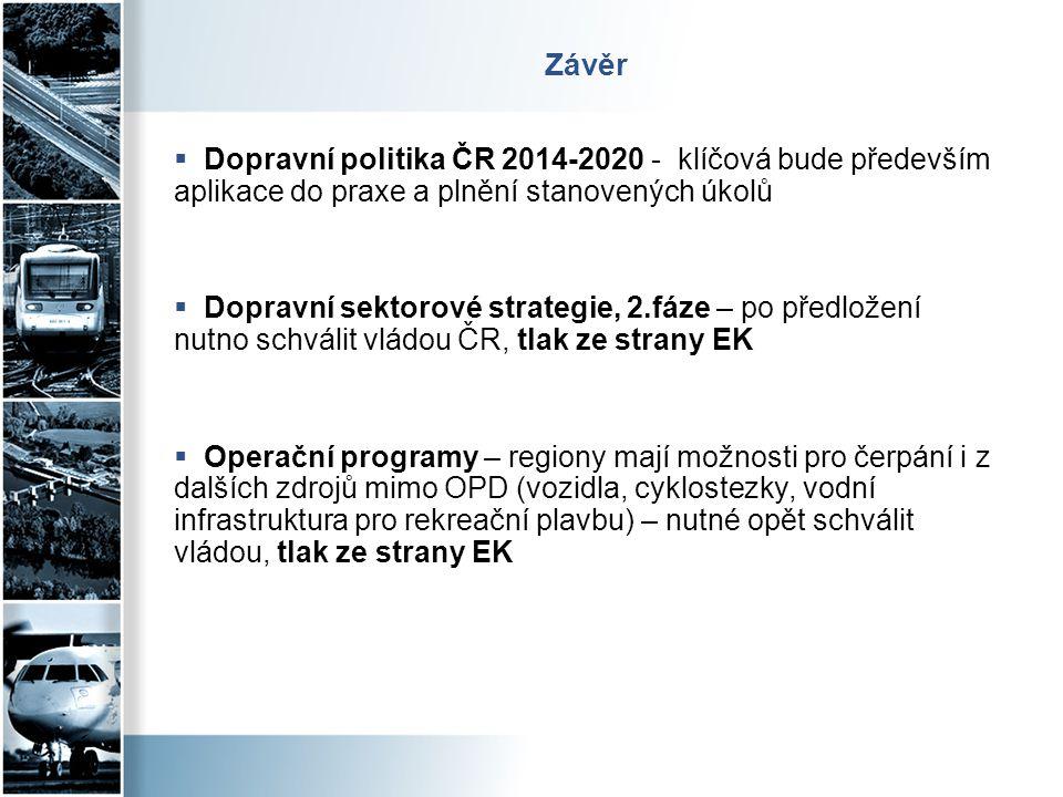 Závěr  Dopravní politika ČR 2014-2020 - klíčová bude především aplikace do praxe a plnění stanovených úkolů  Dopravní sektorové strategie, 2.fáze –
