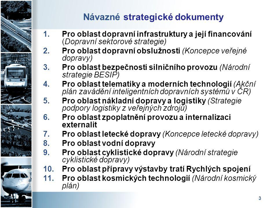 3 Návazné strategické dokumenty 1.Pro oblast dopravní infrastruktury a její financování (Dopravní sektorové strategie) 2.Pro oblast dopravní obslužnos