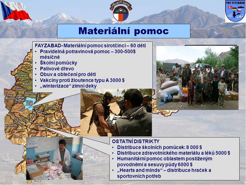 KURAN WA MUNJAN • •Skazer – rekonstrukce ochranné stěny kliniky a střechy 13 000 $ • •Skazer – konstrukce záchodů u místní kliniky 1200 $ KHASH • • Tajek – záchody pro základní školu 3991 $ SHEGNAN • •Dasar – oprava střechy školní budovy 2000 $ • •Kala – vybavení jídelny Afghánské národní policie 1050 $ ARGHANJ KHAH • • Tagabak – výroba 50 školních lavic a stolů 1850 $ Probíhající projekty KOHESTAN • •Eshtatuk – výstavba vodní nádrže 6000 $ • •Qualat – výstavba vodní nádrže 4000$