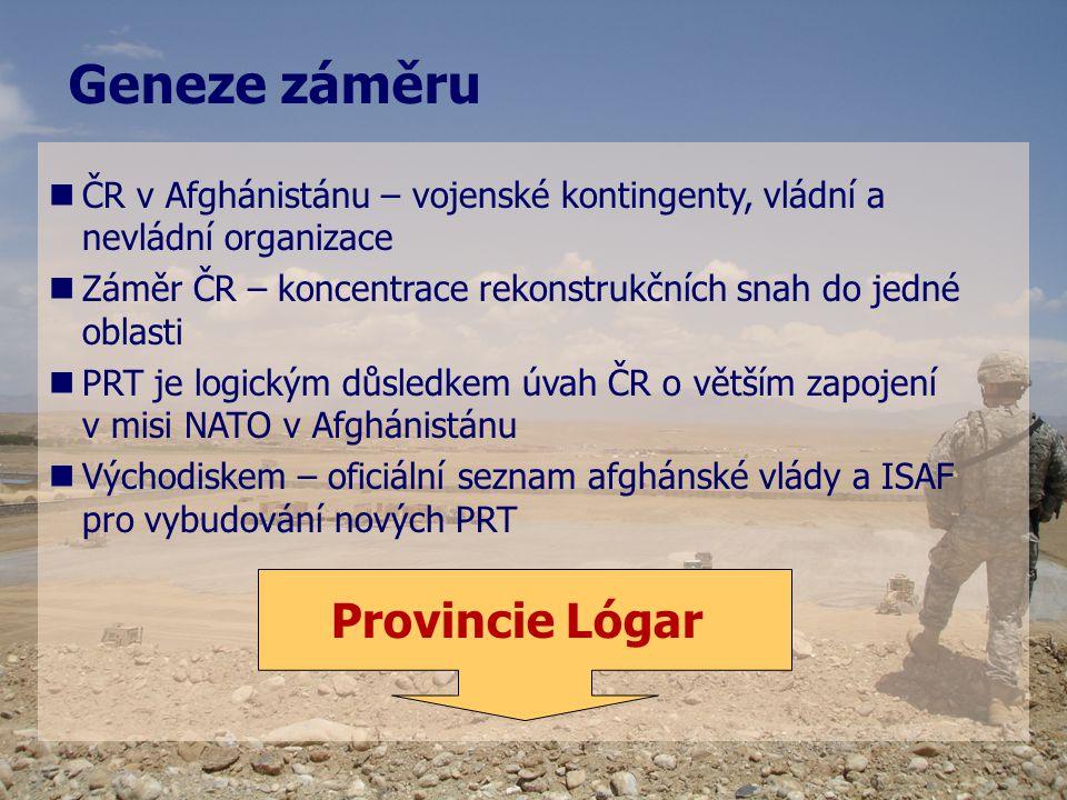   ČR v Afghánistánu – vojenské kontingenty, vládní a nevládní organizace   Záměr ČR – koncentrace rekonstrukčních snah do jedné oblasti   PRT je